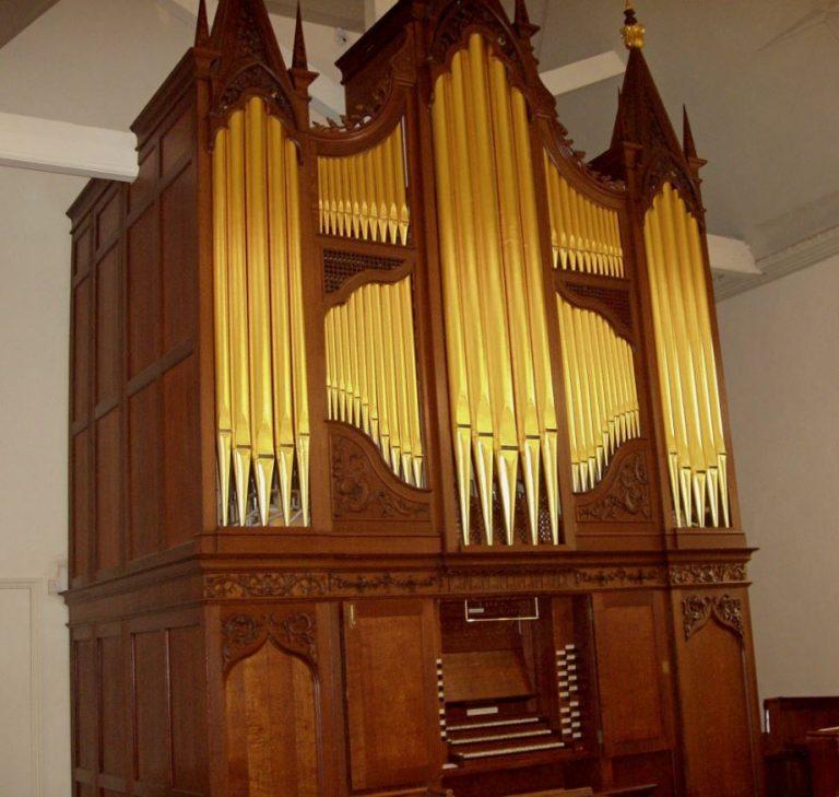 George England pipe organ 1760 in Dulwich, restoration, pipe organ after repairs, Laurent Robert woodcarving