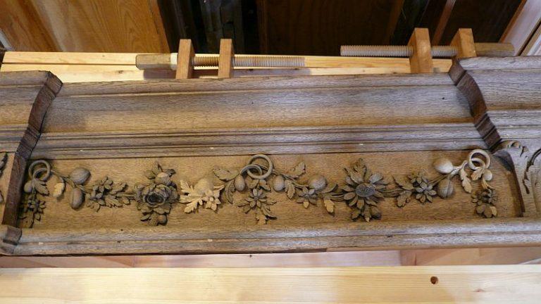 George England organ case restored by Laurent Robert Woodcarver, frieze 3