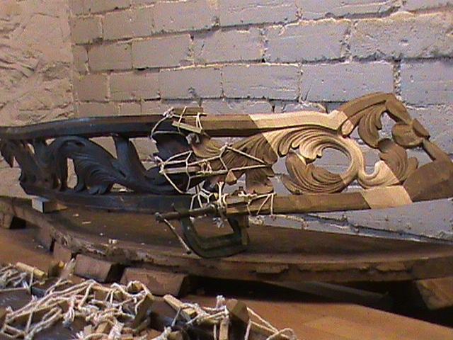 Richard Bridge organ case restoration by Laurent Robert Woodcarver, reconstruction of serpentine carving