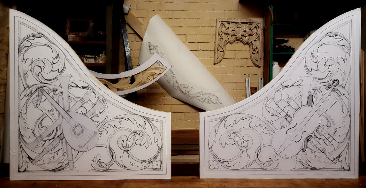 lime wood pipe shades carvings with trophy panel violin ad lute, drawings by Laurent Robert Woodcarver