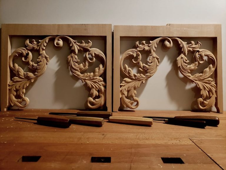 pipe organ sculptures for bruton church in williamsburg including two tower pipe shades carvings by laurent robert