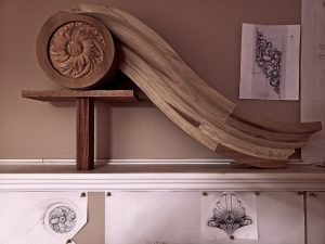pipe organ sculptures for bruton church in williamsburg including a swan neck pediment and rosette carving by laurent robert