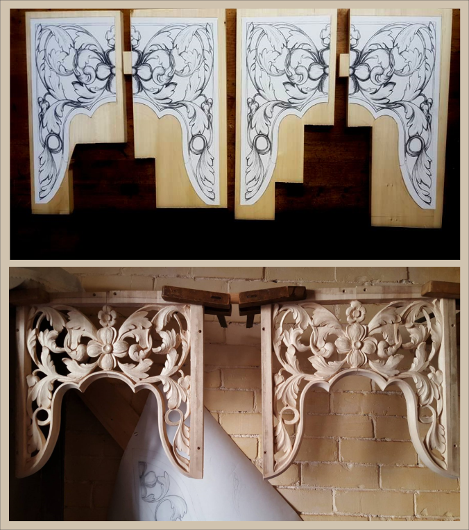 lime wood pipe organ carving by Laurent Robert Woodcarver in Massachusetts, drawings